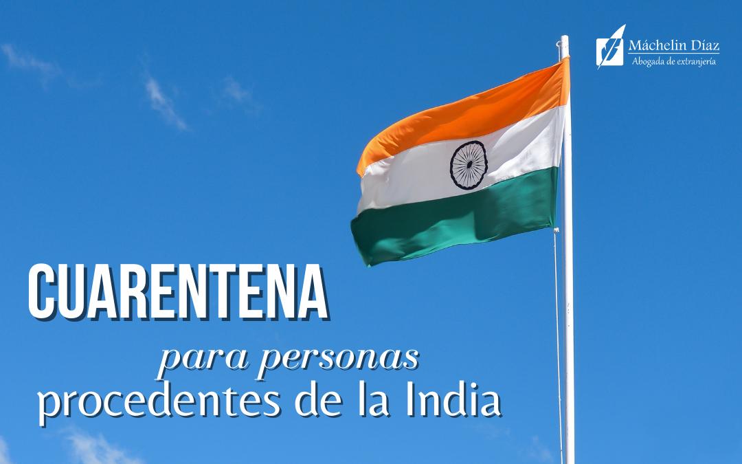 cuarentena personas procedentes de la india